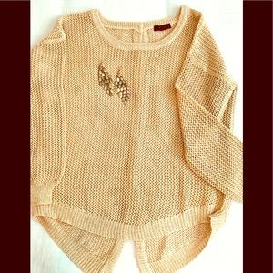 Gold Metallic Sweater with button back